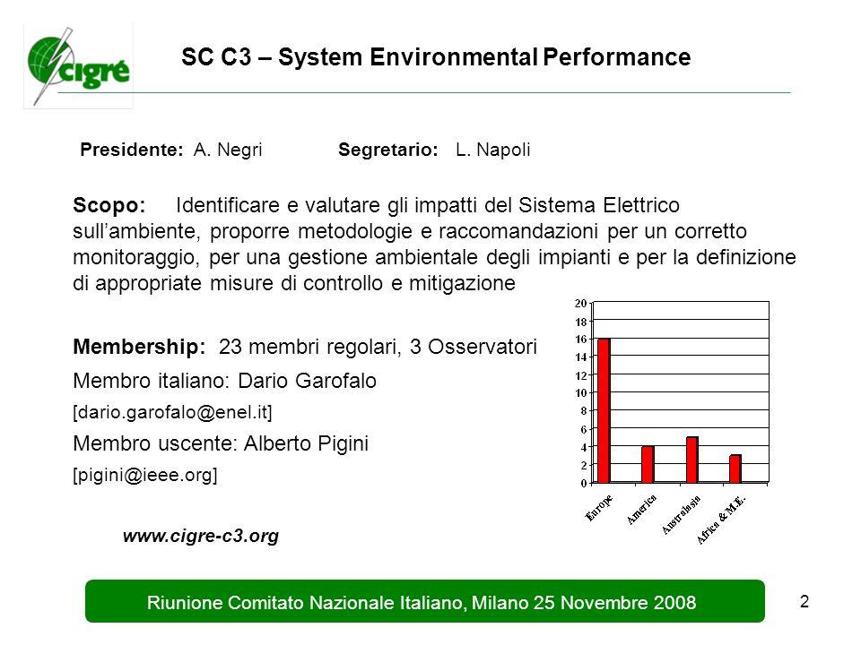 2 Riunione Comitato Nazionale Italiano, Milano 25 Novembre 2008 SC C3 – System Environmental Performance Presidente: A.