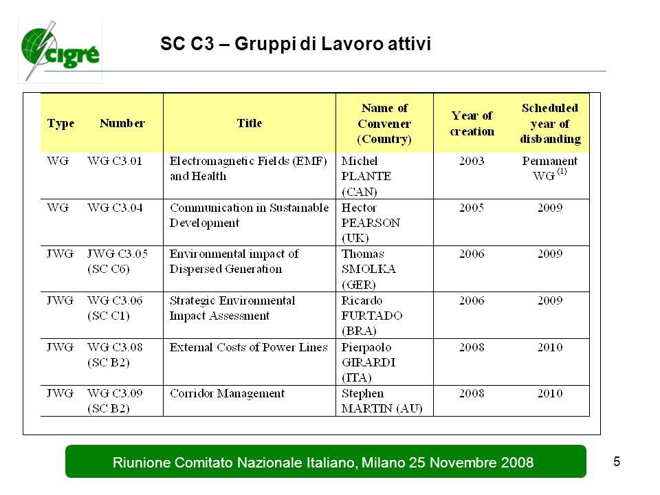 5 Riunione Comitato Nazionale Italiano, Milano 25 Novembre 2008 SC C3 – Gruppi di Lavoro attivi