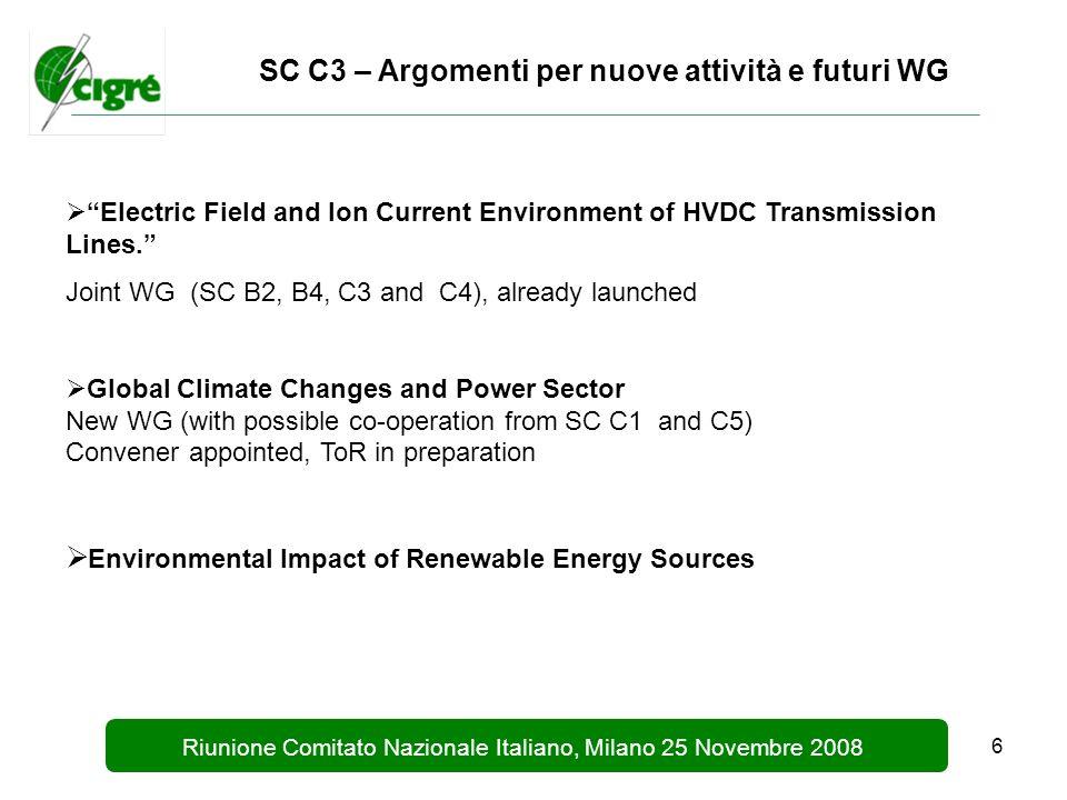 6 Riunione Comitato Nazionale Italiano, Milano 25 Novembre 2008 SC C3 – Argomenti per nuove attività e futuri WG Electric Field and Ion Current Environment of HVDC Transmission Lines.