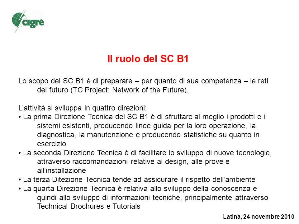 Latina, 24 novembre 2010 Il ruolo del SC B1 Lo scopo del SC B1 è di preparare – per quanto di sua competenza – le reti del futuro (TC Project: Network of the Future).