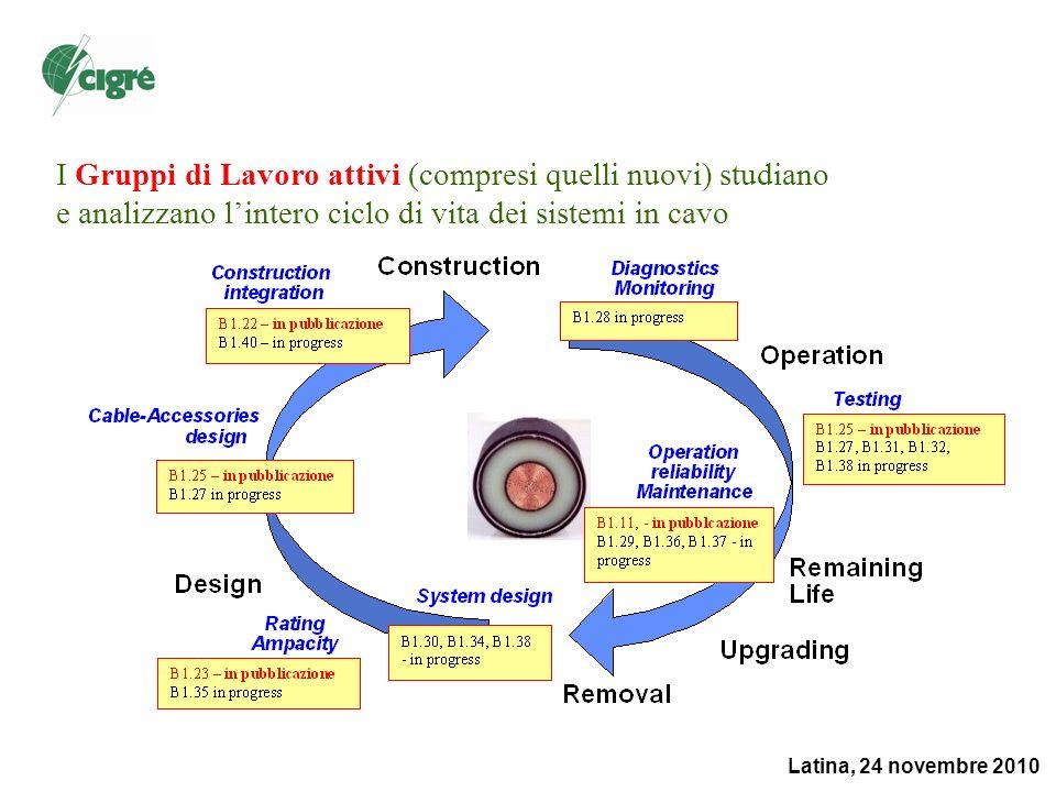 Latina, 24 novembre 2010 I Gruppi di Lavoro attivi (compresi quelli nuovi) studiano e analizzano lintero ciclo di vita dei sistemi in cavo