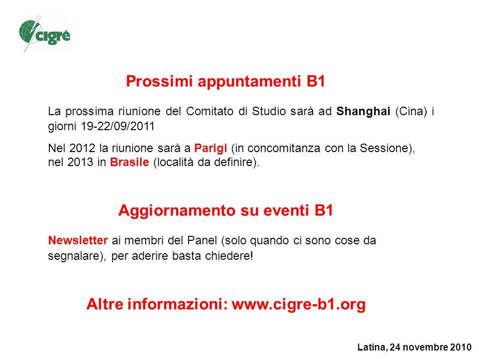 Latina, 24 novembre 2010 Prossimi appuntamenti B1 La prossima riunione del Comitato di Studio sarà ad Shanghai (Cina) i giorni 19-22/09/2011 Nel 2012 la riunione sarà a Parigi (in concomitanza con la Sessione), nel 2013 in Brasile (località da definire).