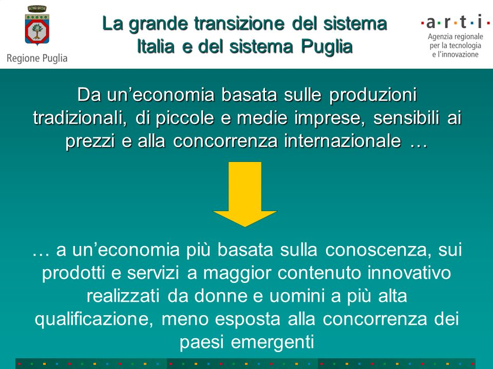 Le priorità: un sistema con alcune eccellenze a scala europea la Puglia deve puntare su alcune aree scientifiche e tecnologiche di eccellenza per concentrare maggiormente le risorse la Puglia deve puntare su alcune aree scientifiche e tecnologiche di eccellenza per concentrare maggiormente le risorseQuali.