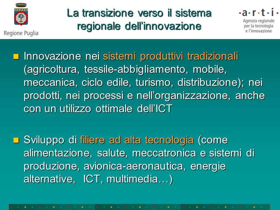 LARTI È lAgenzia Regionale per la Tecnologia e lInnovazione della Puglia Il suo obiettivo è il rafforzamento del Sistema Regionale Pugliese dellInnovazione: attori pubblici e privati che collaborano con iniziative e strategie comuni