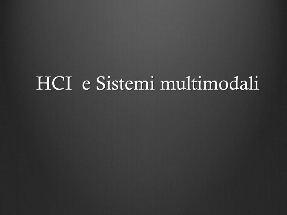Sistemi Multimodali ( Multimodal systems ) In riasunto, I sistemi multimodali sono sistemi computazionali che:In riasunto, I sistemi multimodali sono sistemi computazionali che: (INPUT & INPUT PROCESSING) (INPUT & INPUT PROCESSING) Osservano lutente e raccogliono, analisano e integrano informazione da diverse modalità sensoriale Osservano lutente e raccogliono, analisano e integrano informazione da diverse modalità sensoriale Creano rappresentazione interne dellutente (es.