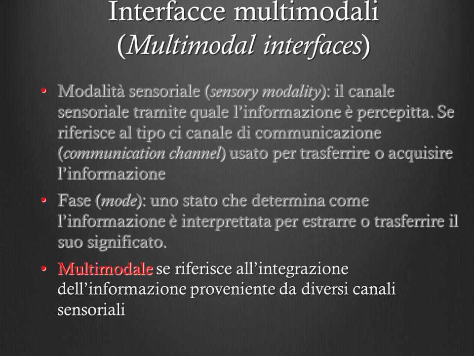 Interfacce multimodali ( Multimodal interfaces ) Modalità sensoriale ( sensory modality ): il canale sensoriale tramite quale linformazione è percepit