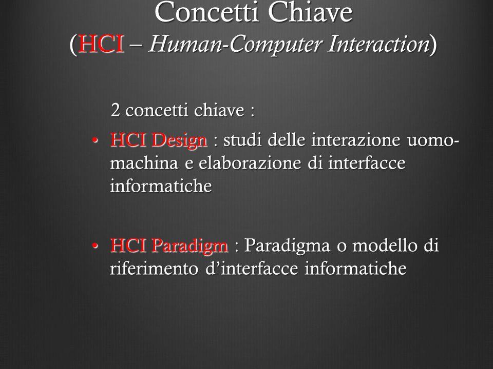 2 concetti chiave : 2 concetti chiave : HCI Design : studi delle interazione uomo- machina e elaborazione di interfacce informaticheHCI Design : studi