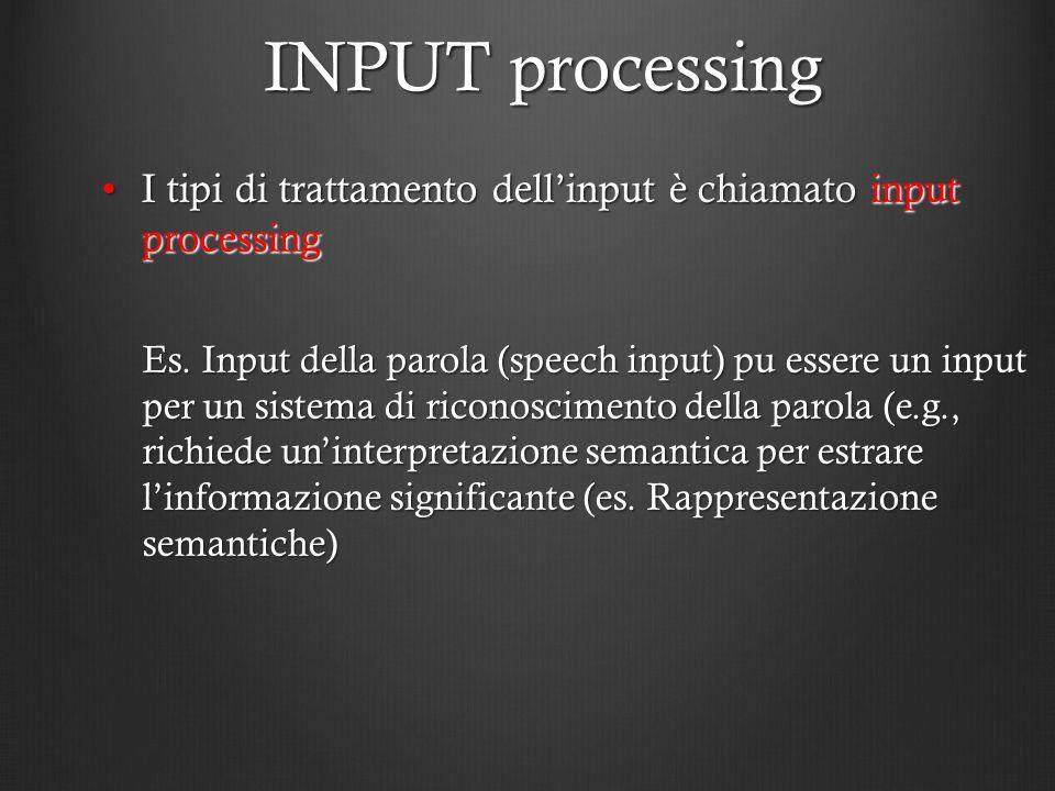 INPUT processing I tipi di trattamento dellinput è chiamato input processingI tipi di trattamento dellinput è chiamato input processing Es. Input dell
