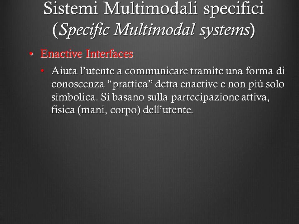 Sistemi Multimodali specifici ( Specific Multimodal systems ) Enactive InterfacesEnactive Interfaces Aiuta lutente a communicare tramite una forma di