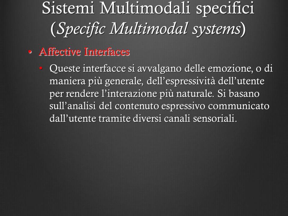 Sistemi Multimodali specifici ( Specific Multimodal systems ) Affective InterfacesAffective Interfaces Queste interfacce si avvalgano delle emozione,