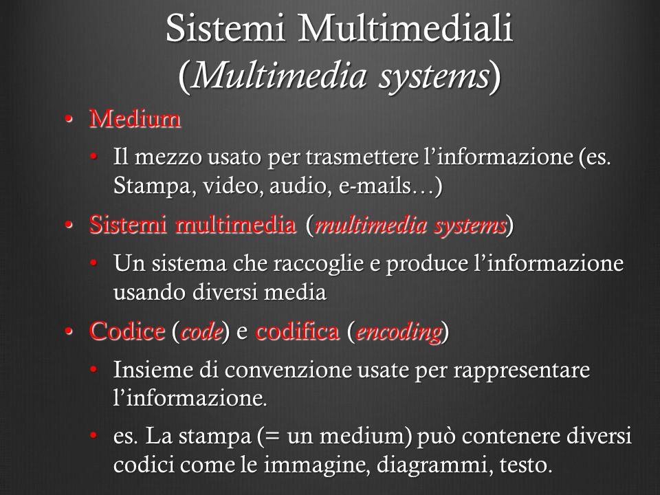 Sistemi Multimediali ( Multimedia systems ) MediumMedium Il mezzo usato per trasmettere linformazione (es. Stampa, video, audio, e-mails…) Il mezzo us