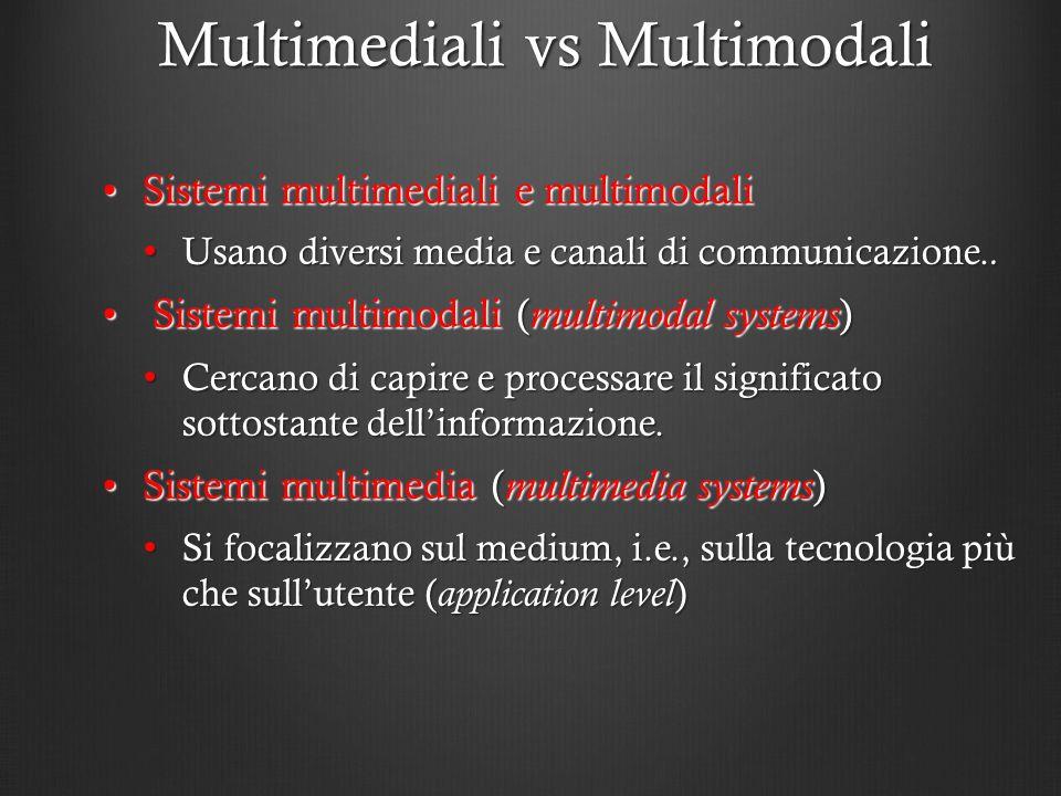 Multimediali vs Multimodali Sistemi multimediali e multimodaliSistemi multimediali e multimodali Usano diversi media e canali di communicazione.. Usan