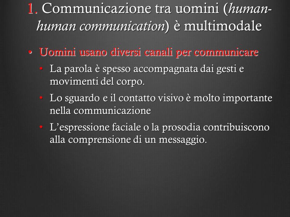 1. Communicazione tra uomini ( human- human communication ) è multimodale Uomini usano diversi canali per communicareUomini usano diversi canali per c