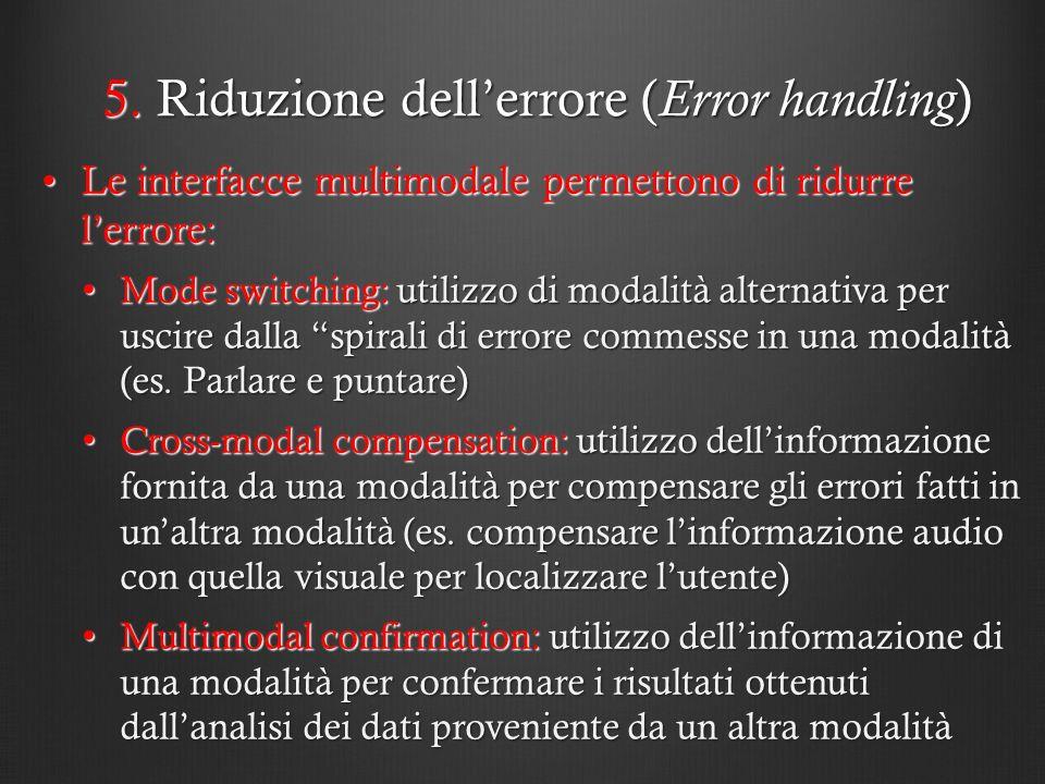 5. Riduzione dellerrore ( Error handling ) Le interfacce multimodale permettono di ridurre lerrore:Le interfacce multimodale permettono di ridurre ler