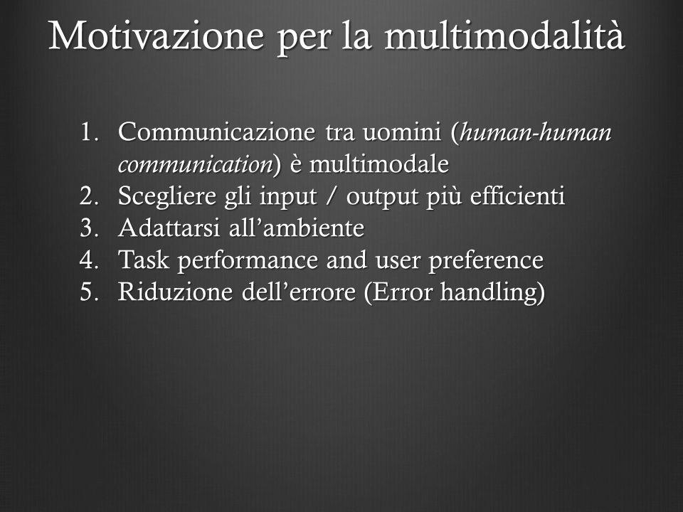 1.Communicazione tra uomini ( human-human communication ) è multimodale 2.Scegliere gli input / output più efficienti 3.Adattarsi allambiente 4.Task p