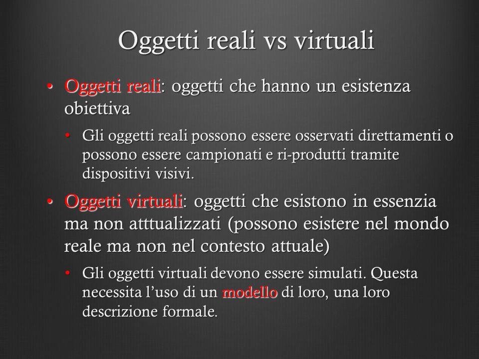 Oggetti reali vs virtuali Oggetti reali: oggetti che hanno un esistenza obiettivaOggetti reali: oggetti che hanno un esistenza obiettiva Gli oggetti r