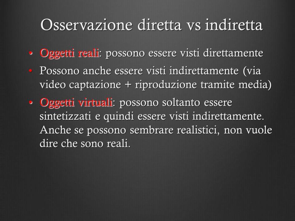 Osservazione diretta vs indiretta Oggetti reali: possono essere visti direttamenteOggetti reali: possono essere visti direttamente Possono anche esser