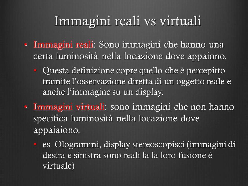 Immagini reali vs virtuali Immagini reali: Sono immagini che hanno una certa luminosità nella locazione dove appaiono.Immagini reali: Sono immagini ch