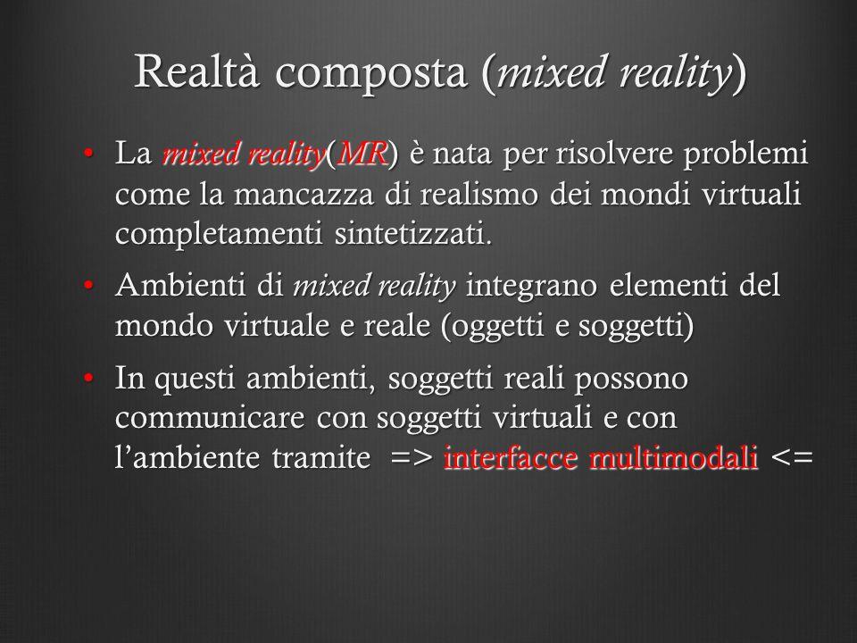 Realtà composta ( mixed reality ) La mixed reality ( MR ) è nata per risolvere problemi come la mancazza di realismo dei mondi virtuali completamenti