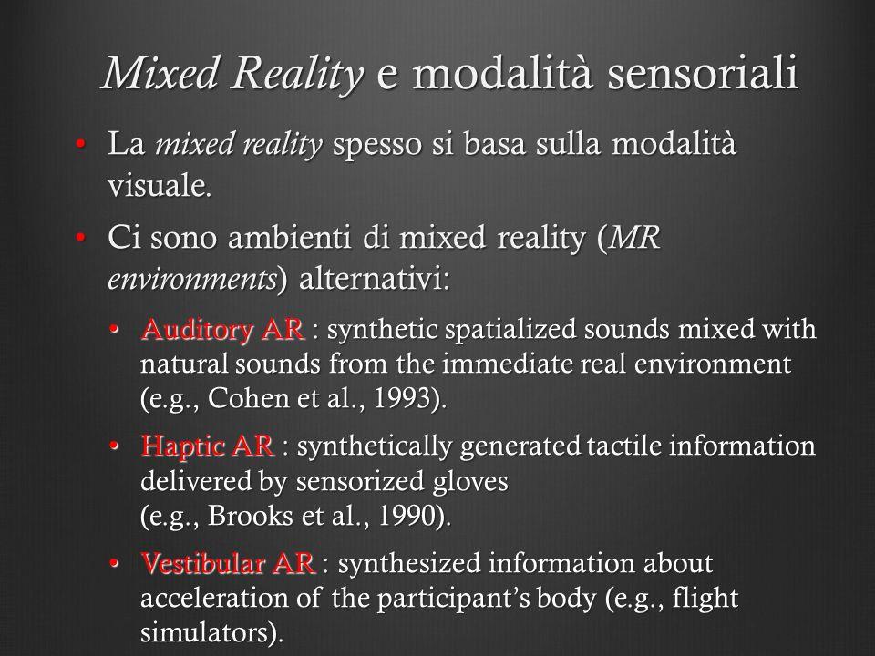 Mixed Reality e modalità sensoriali La mixed reality spesso si basa sulla modalità visuale.La mixed reality spesso si basa sulla modalità visuale. Ci