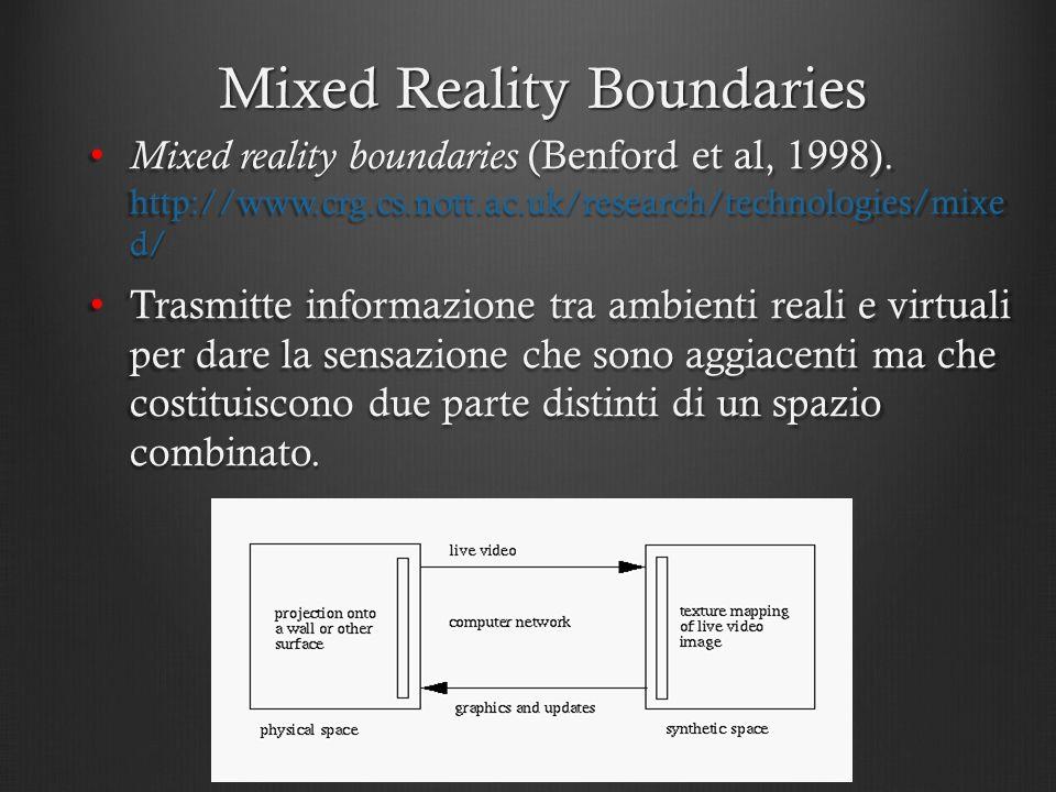 Mixed Reality Boundaries Mixed reality boundaries (Benford et al, 1998). http://www.crg.cs.nott.ac.uk/research/technologies/mixe d/ Mixed reality boun
