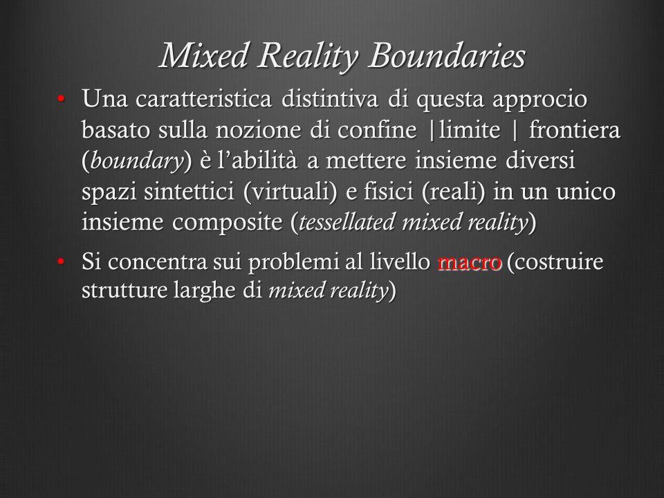 Mixed Reality Boundaries Una caratteristica distintiva di questa approcio basato sulla nozione di confine  limite   frontiera ( boundary ) è labilità
