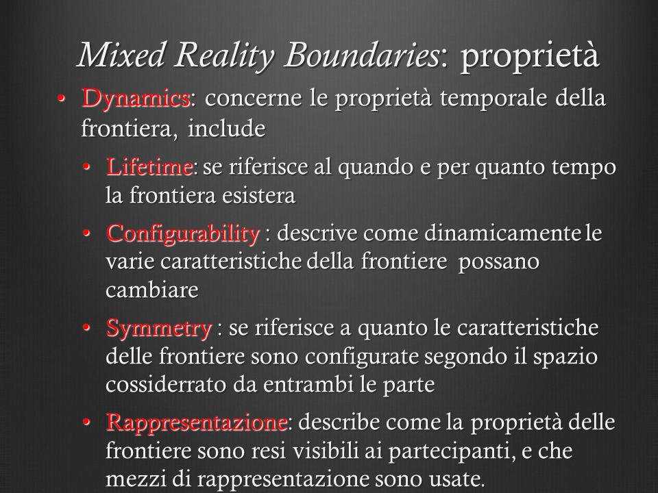 Mixed Reality Boundaries : proprietà Dynamics: concerne le proprietà temporale della frontiera, includeDynamics: concerne le proprietà temporale della