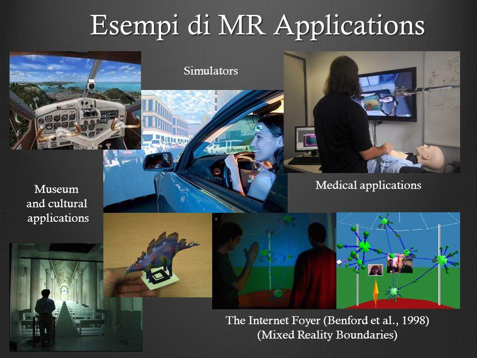 Esempi di MR Applications Medical applications Simulators The Internet Foyer (Benford et al., 1998) (Mixed Reality Boundaries) Museum and cultural app