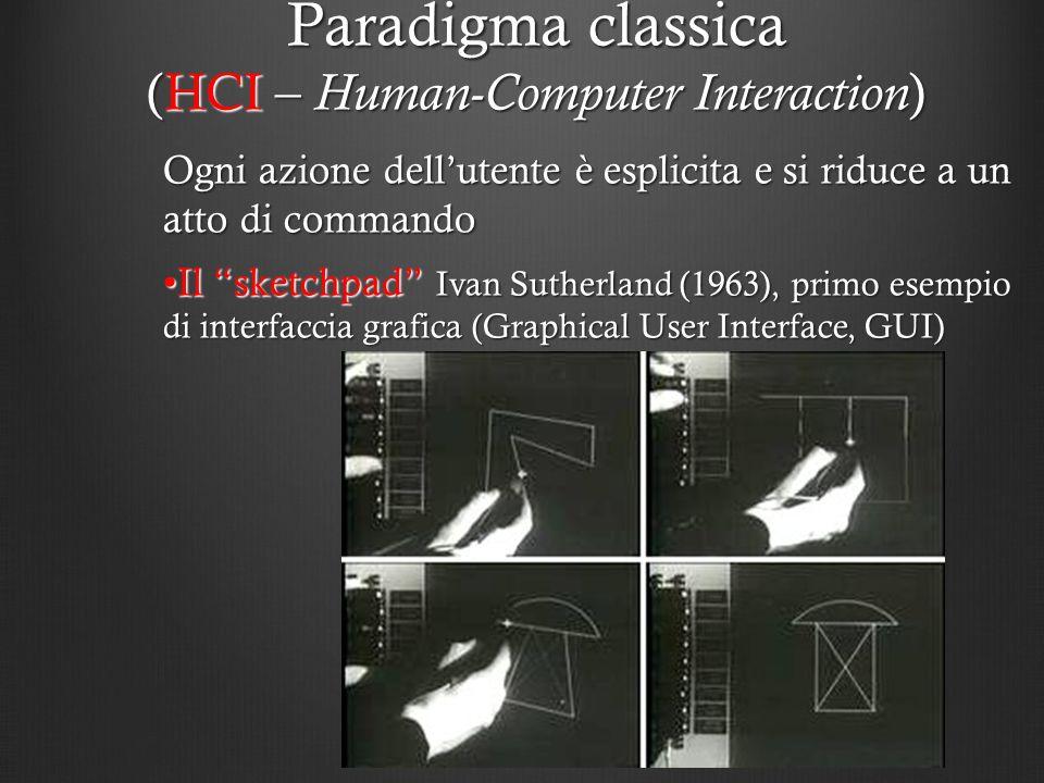 Ogni azione dellutente è esplicita e si riduce a un atto di commando Il sketchpad Ivan Sutherland (1963), primo esempio di interfaccia grafica (Graphi