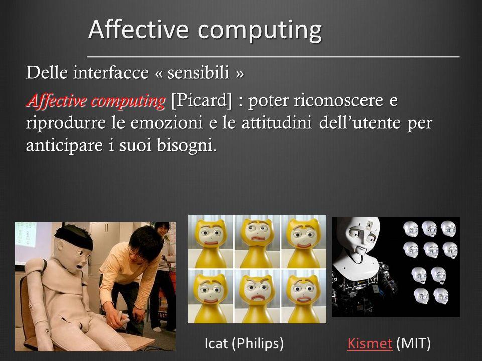 Affective computing Icat (Philips)KismetKismet (MIT) Delle interfacce « sensibili » Affective computing [Picard] : poter riconoscere e riprodurre le e