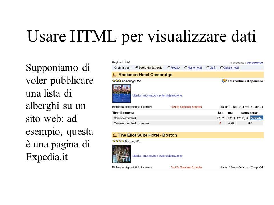 Usare HTML per visualizzare dati Supponiamo di voler pubblicare una lista di alberghi su un sito web: ad esempio, questa è una pagina di Expedia.it