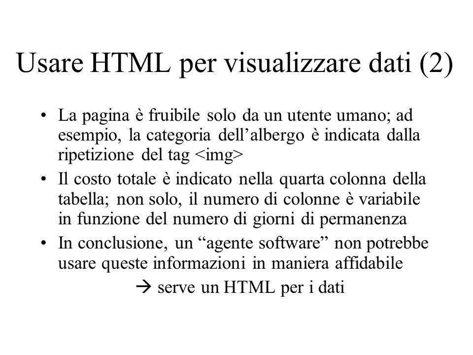 Usare HTML per visualizzare dati (2) La pagina è fruibile solo da un utente umano; ad esempio, la categoria dellalbergo è indicata dalla ripetizione d