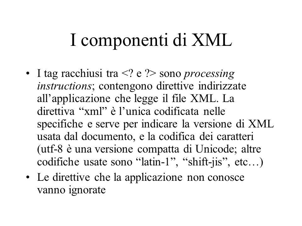 I componenti di XML I tag racchiusi tra sono processing instructions; contengono direttive indirizzate allapplicazione che legge il file XML. La diret