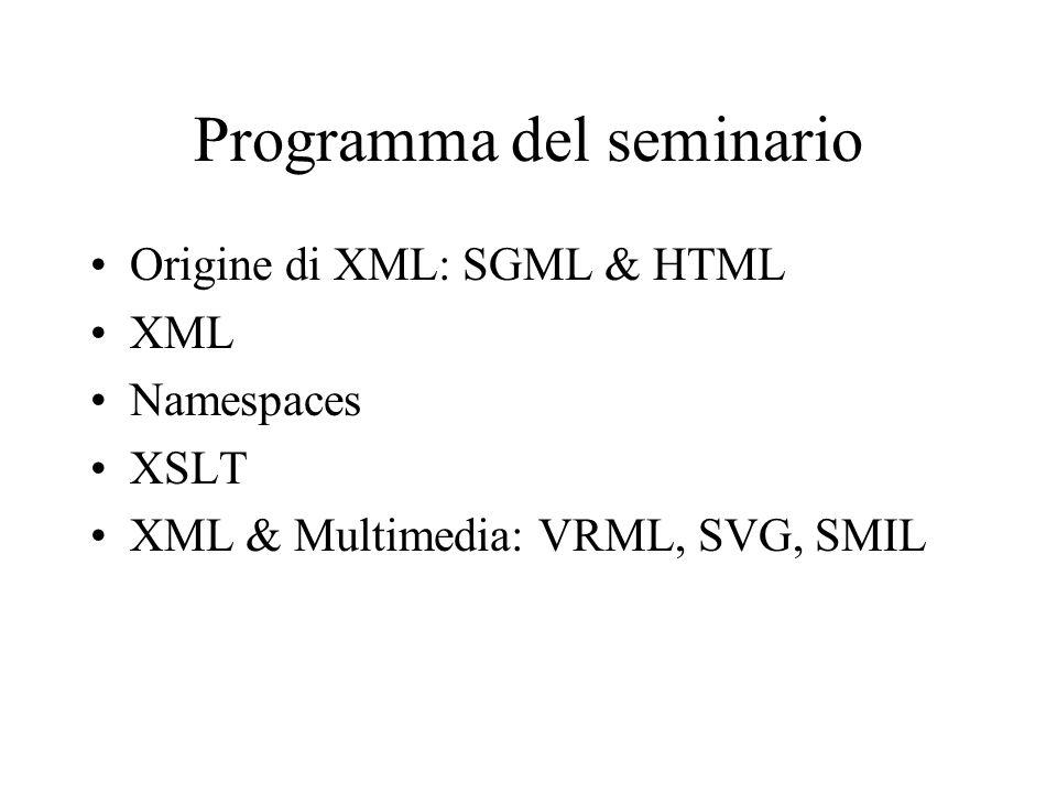 Programma del seminario Origine di XML: SGML & HTML XML Namespaces XSLT XML & Multimedia: VRML, SVG, SMIL