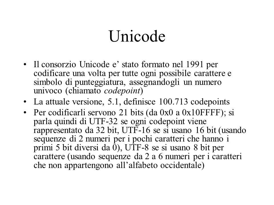 Unicode Il consorzio Unicode e stato formato nel 1991 per codificare una volta per tutte ogni possibile carattere e simbolo di punteggiatura, assegnan