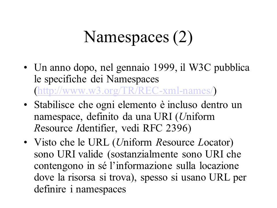 Namespaces (2) Un anno dopo, nel gennaio 1999, il W3C pubblica le specifiche dei Namespaces (http://www.w3.org/TR/REC-xml-names/)http://www.w3.org/TR/