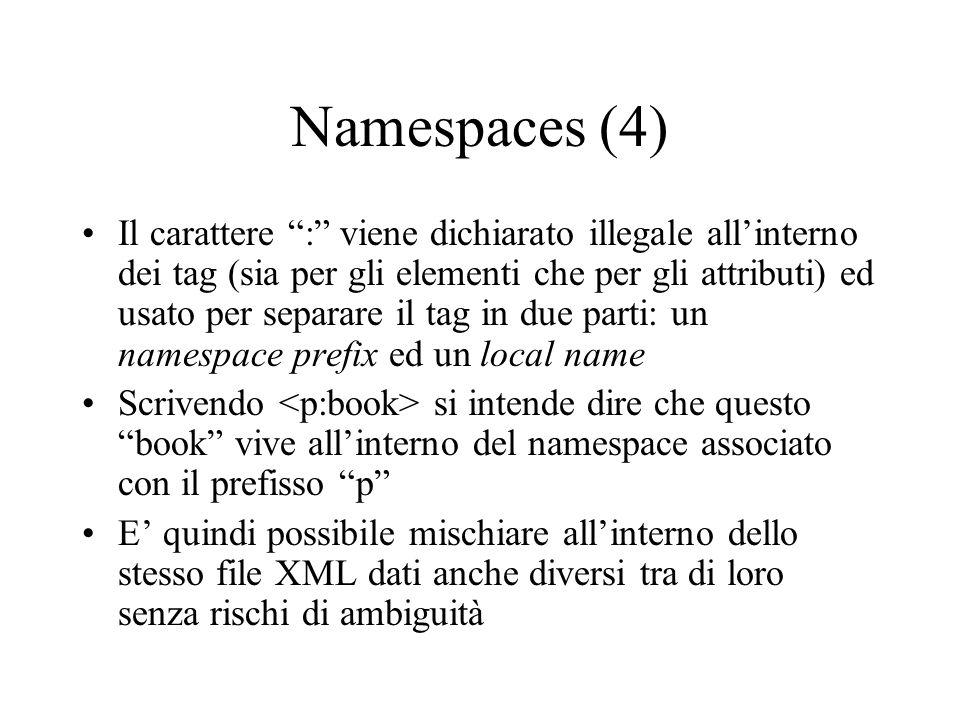 Namespaces (4) Il carattere : viene dichiarato illegale allinterno dei tag (sia per gli elementi che per gli attributi) ed usato per separare il tag i