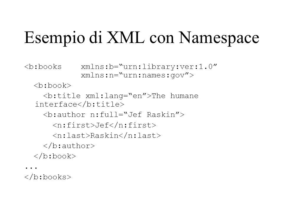 Esempio di XML con Namespace The humane interface Jef Raskin...