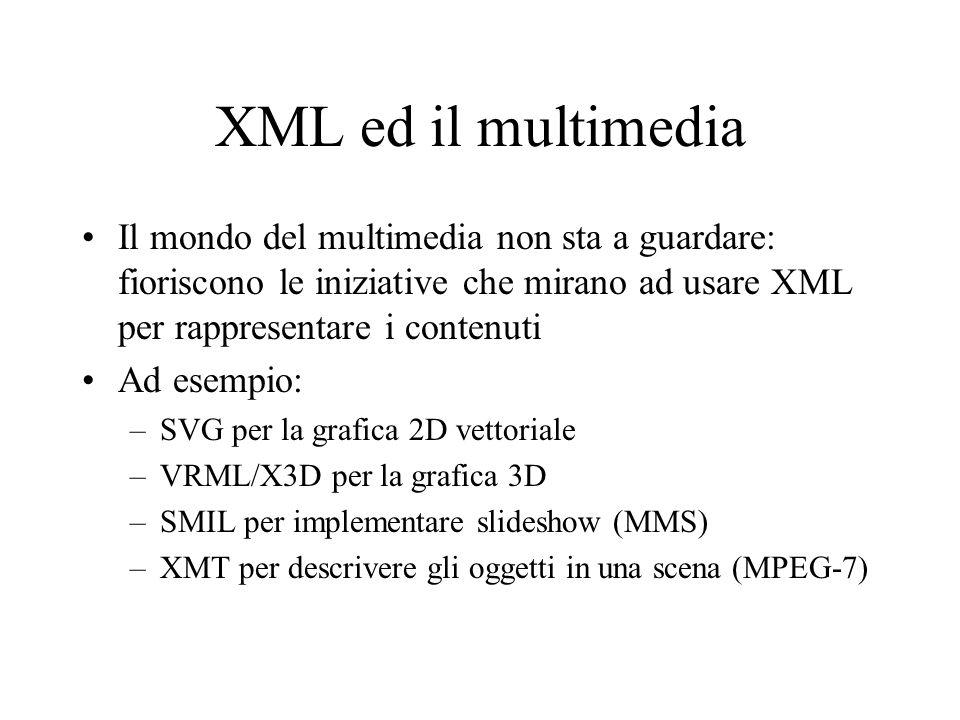 XML ed il multimedia Il mondo del multimedia non sta a guardare: fioriscono le iniziative che mirano ad usare XML per rappresentare i contenuti Ad ese