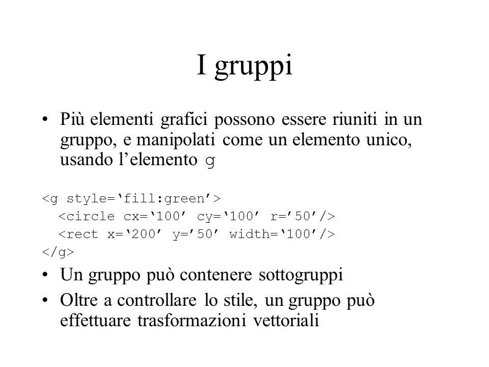 I gruppi Più elementi grafici possono essere riuniti in un gruppo, e manipolati come un elemento unico, usando lelemento g Un gruppo può contenere sot