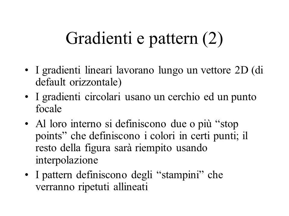 Gradienti e pattern (2) I gradienti lineari lavorano lungo un vettore 2D (di default orizzontale) I gradienti circolari usano un cerchio ed un punto f