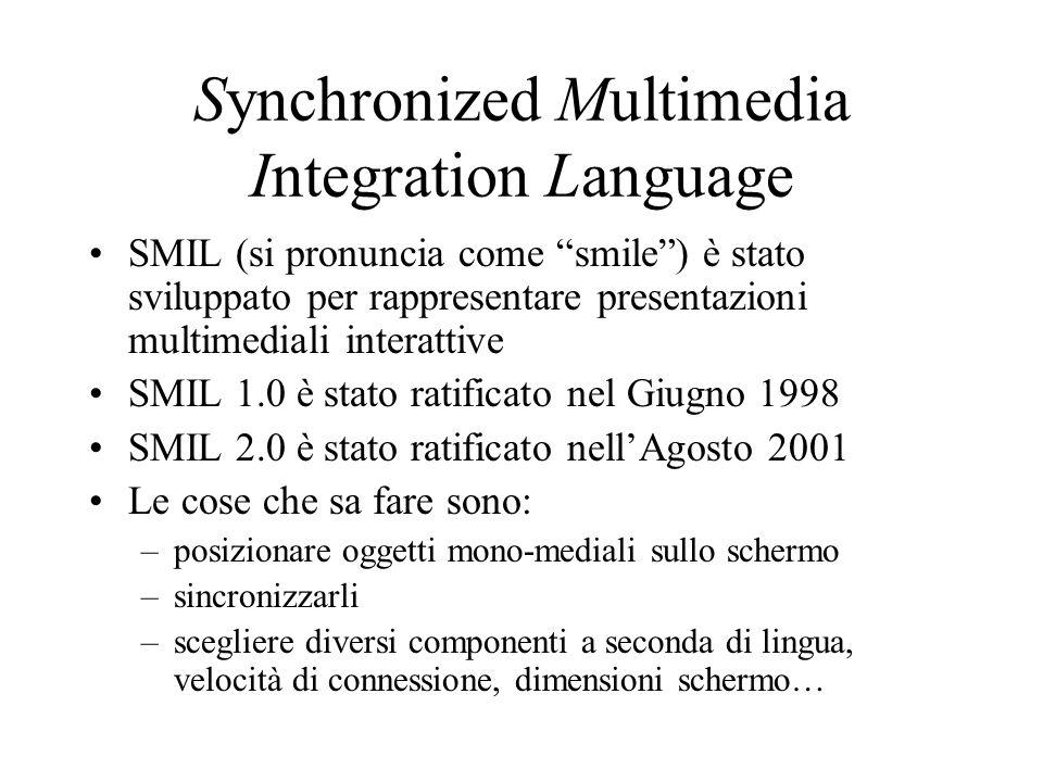 Synchronized Multimedia Integration Language SMIL (si pronuncia come smile) è stato sviluppato per rappresentare presentazioni multimediali interattiv