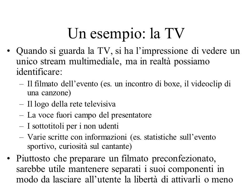 Un esempio: la TV Quando si guarda la TV, si ha limpressione di vedere un unico stream multimediale, ma in realtà possiamo identificare: –Il filmato d