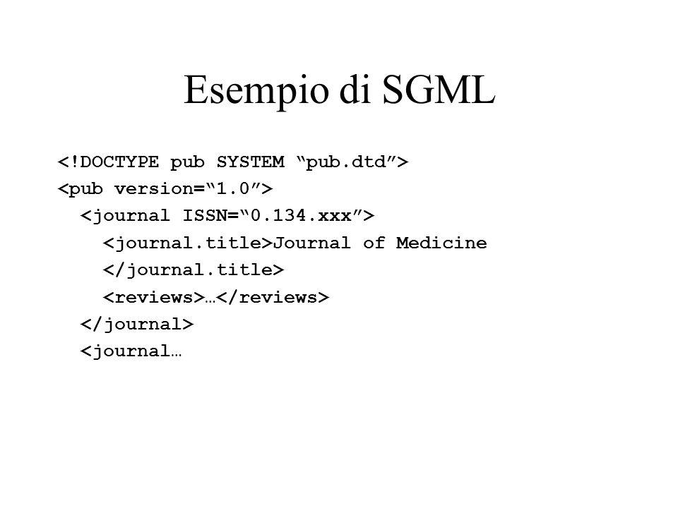 Esempio di SGML Journal of Medicine … <journal…