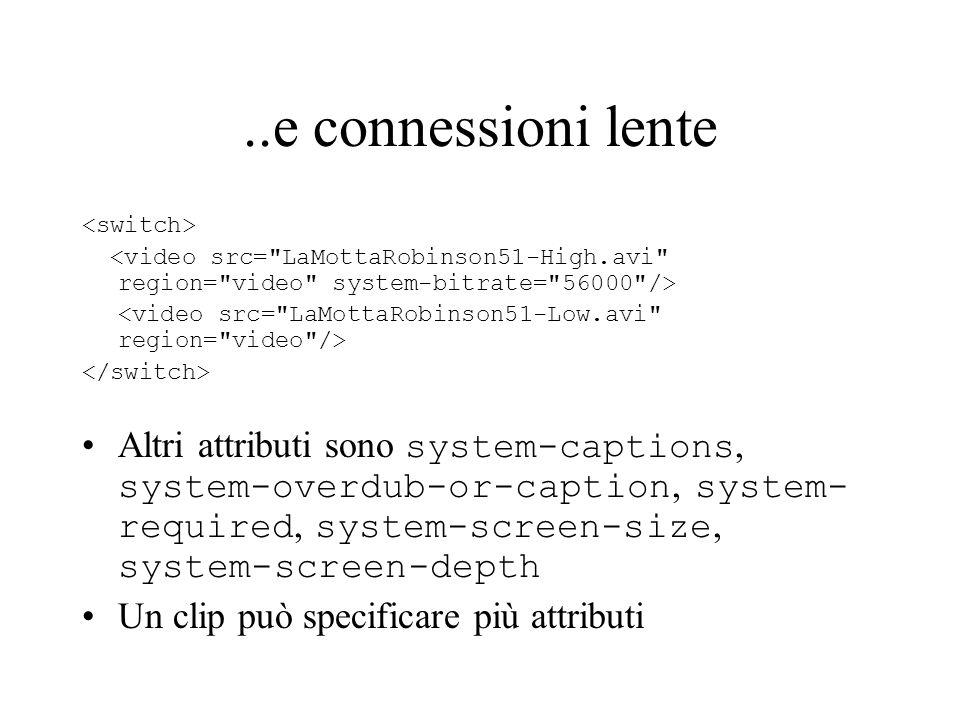 ..e connessioni lente Altri attributi sono system-captions, system-overdub-or-caption, system- required, system-screen-size, system-screen-depth Un cl