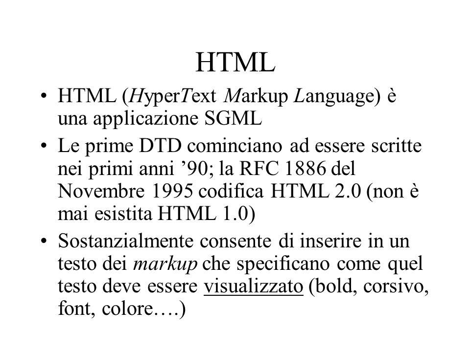HTML HTML (HyperText Markup Language) è una applicazione SGML Le prime DTD cominciano ad essere scritte nei primi anni 90; la RFC 1886 del Novembre 19
