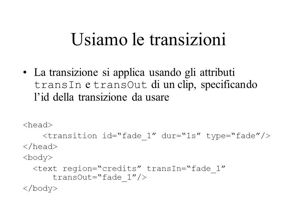 Usiamo le transizioni La transizione si applica usando gli attributi transIn e transOut di un clip, specificando lid della transizione da usare