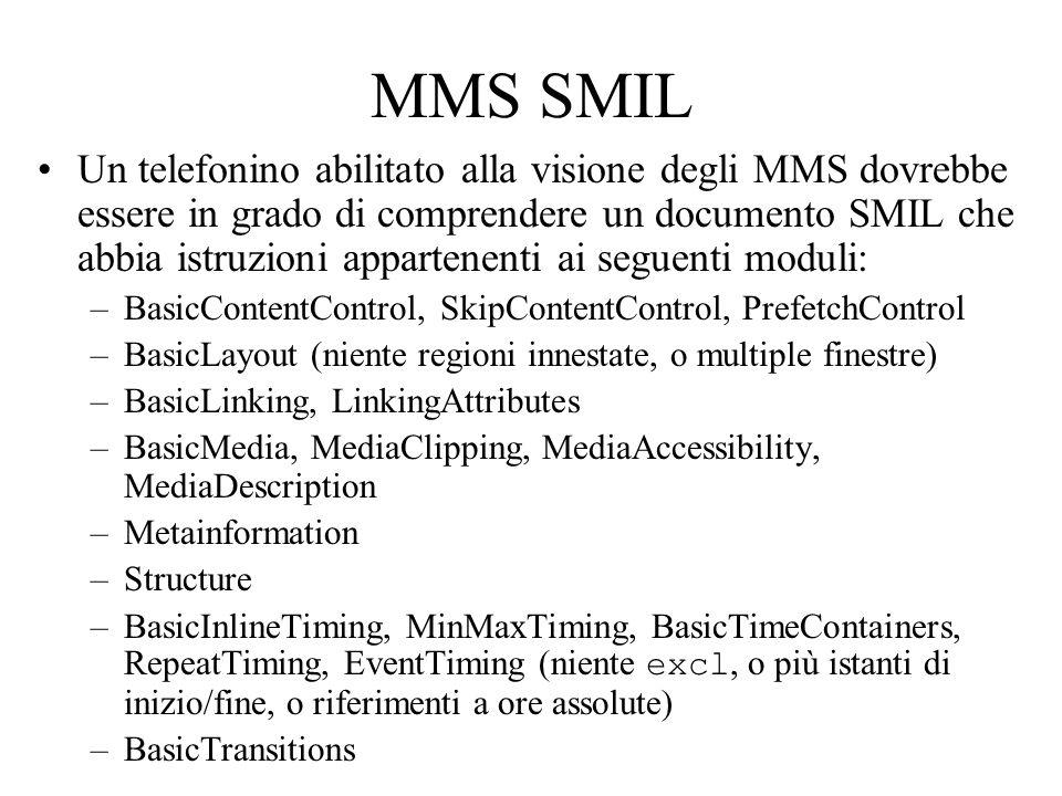 MMS SMIL Un telefonino abilitato alla visione degli MMS dovrebbe essere in grado di comprendere un documento SMIL che abbia istruzioni appartenenti ai