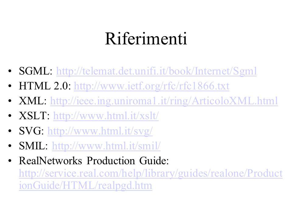 Riferimenti SGML: http://telemat.det.unifi.it/book/Internet/Sgmlhttp://telemat.det.unifi.it/book/Internet/Sgml HTML 2.0: http://www.ietf.org/rfc/rfc18