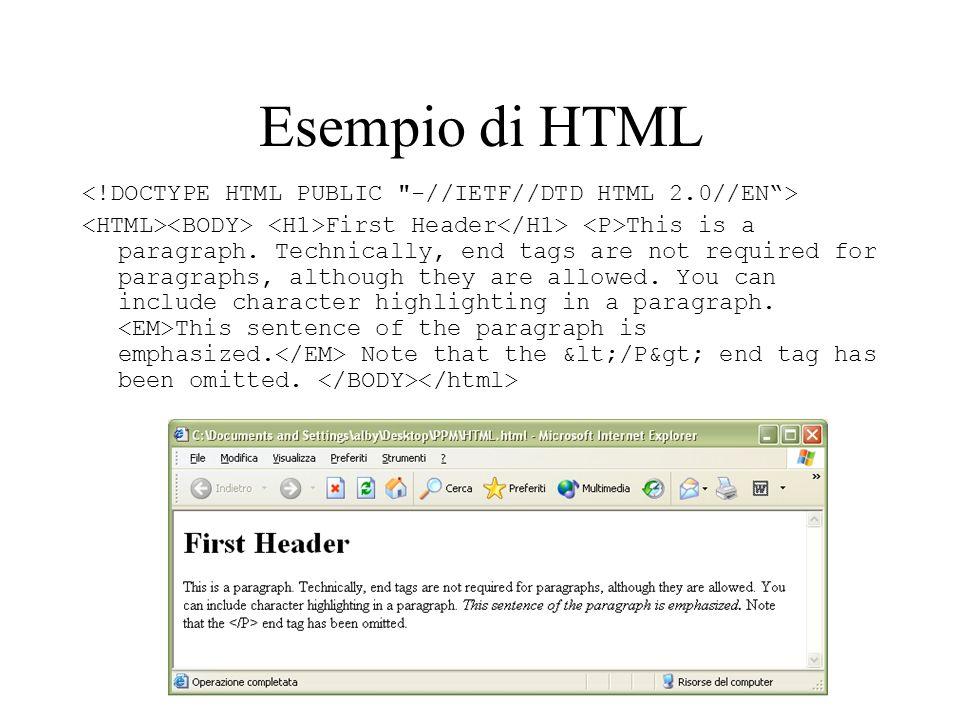 Esempio di HTML First Header This is a paragraph.